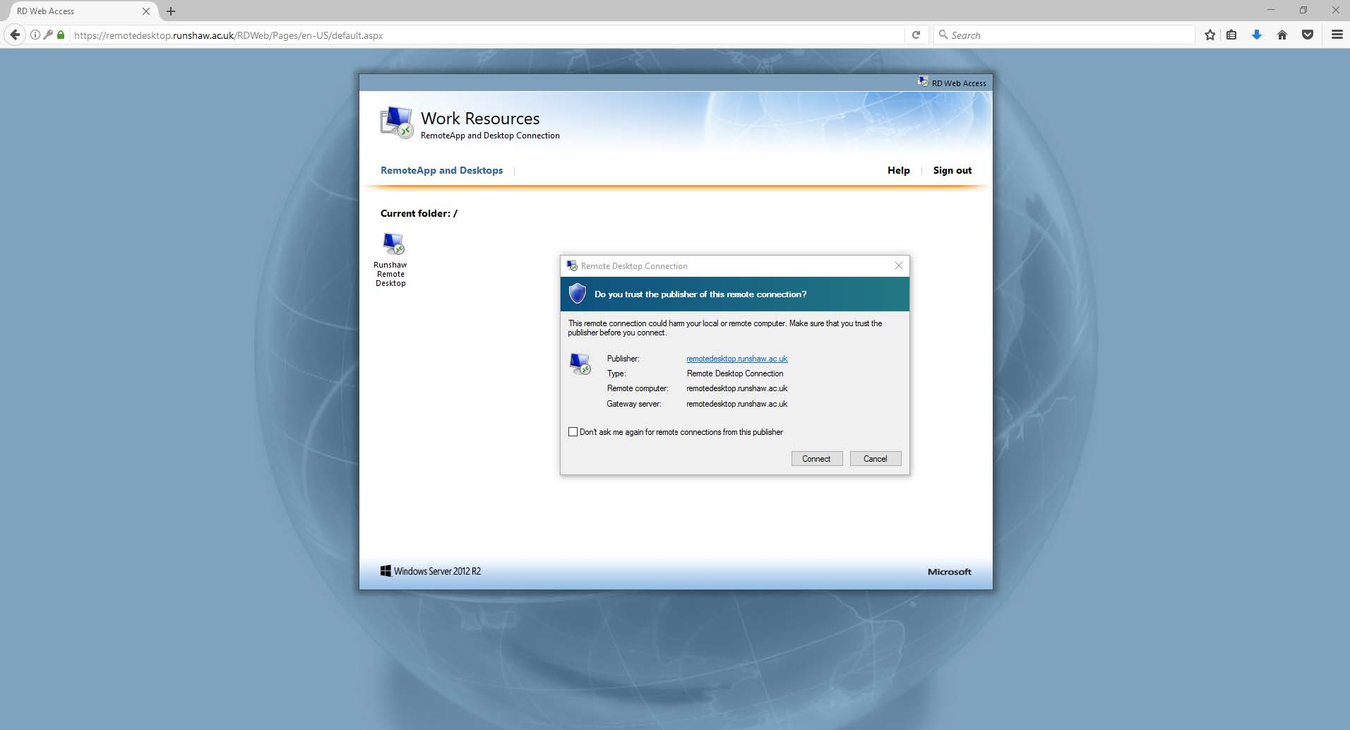Staff Remote Access - Firefox — Runshaw College