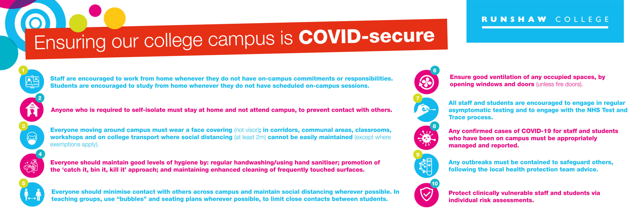 Ensuring our college campus is COVID Secure. 10 key controls.