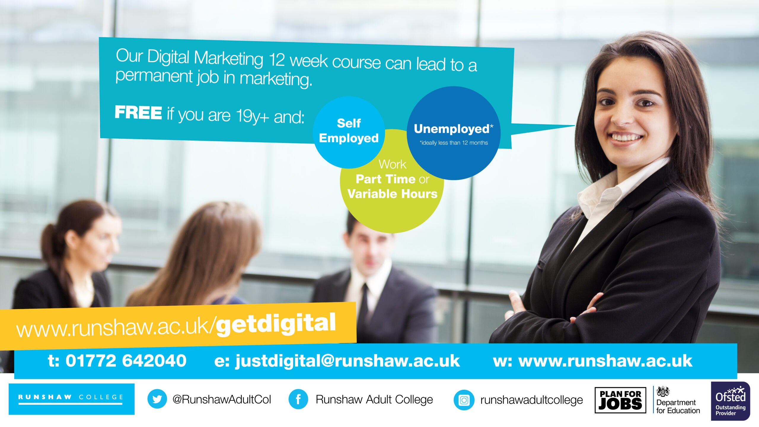 Our Digital Marketing 12 week course can lead to a permanent job in Marketing